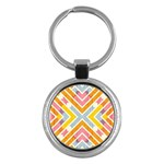 Line Pattern Cross Print Repeat Key Chains (Round)