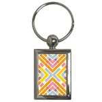 Line Pattern Cross Print Repeat Key Chains (Rectangle)