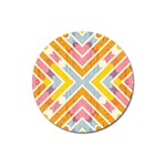 Line Pattern Cross Print Repeat Magnet 3  (Round)
