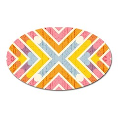 Line Pattern Cross Print Repeat Oval Magnet by Amaryn4rt