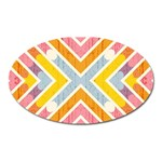 Line Pattern Cross Print Repeat Oval Magnet
