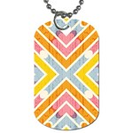 Line Pattern Cross Print Repeat Dog Tag (Two Sides)