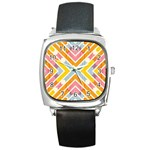 Line Pattern Cross Print Repeat Square Metal Watch