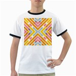 Line Pattern Cross Print Repeat Ringer T-Shirts