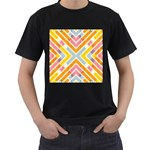 Line Pattern Cross Print Repeat Men s T-Shirt (Black) (Two Sided)
