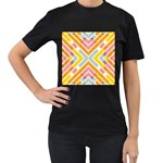 Line Pattern Cross Print Repeat Women s T-Shirt (Black) (Two Sided)