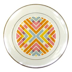 Line Pattern Cross Print Repeat Porcelain Plates by Amaryn4rt
