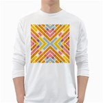 Line Pattern Cross Print Repeat White Long Sleeve T-Shirts