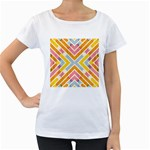Line Pattern Cross Print Repeat Women s Loose-Fit T-Shirt (White)
