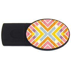 Line Pattern Cross Print Repeat Usb Flash Drive Oval (4 Gb)  by Amaryn4rt
