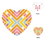 Line Pattern Cross Print Repeat Playing Cards (Heart)
