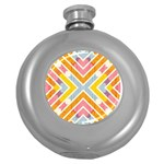 Line Pattern Cross Print Repeat Round Hip Flask (5 oz)