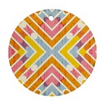 Line Pattern Cross Print Repeat Round Ornament (Two Sides)