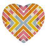 Line Pattern Cross Print Repeat Heart Ornament (2 Sides)