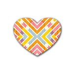 Line Pattern Cross Print Repeat Heart Coaster (4 pack)