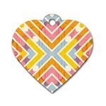 Line Pattern Cross Print Repeat Dog Tag Heart (One Side)
