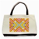 Line Pattern Cross Print Repeat Basic Tote Bag (Two Sides)