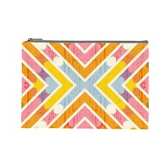 Line Pattern Cross Print Repeat Cosmetic Bag (large)  by Amaryn4rt