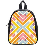 Line Pattern Cross Print Repeat School Bags (Small)