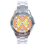 Line Pattern Cross Print Repeat Stainless Steel Analogue Watch