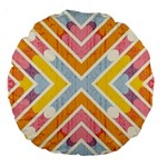 Line Pattern Cross Print Repeat Large 18  Premium Round Cushions