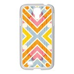 Line Pattern Cross Print Repeat Samsung GALAXY S4 I9500/ I9505 Case (White)