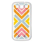Line Pattern Cross Print Repeat Samsung Galaxy S3 Back Case (White)