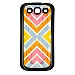 Line Pattern Cross Print Repeat Samsung Galaxy S3 Back Case (Black)