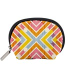 Line Pattern Cross Print Repeat Accessory Pouches (Small)