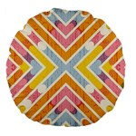 Line Pattern Cross Print Repeat Large 18  Premium Flano Round Cushions