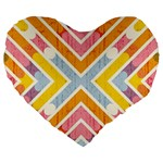 Line Pattern Cross Print Repeat Large 19  Premium Flano Heart Shape Cushions