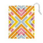 Line Pattern Cross Print Repeat Drawstring Pouches (Extra Large)