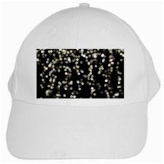 Christmas Bokeh Lights Background White Cap