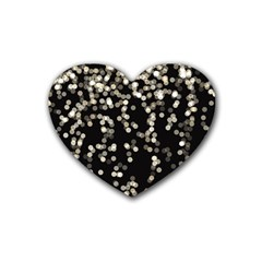 Christmas Bokeh Lights Background Heart Coaster (4 Pack)  by Amaryn4rt