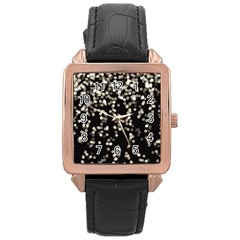 Christmas Bokeh Lights Background Rose Gold Leather Watch  by Amaryn4rt