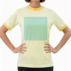Stripes Striped Turquoise Women s Fitted Ringer T-Shirts by Amaryn4rt