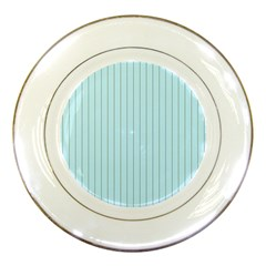 Stripes Striped Turquoise Porcelain Plates by Amaryn4rt