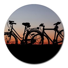 Bicycles Wheel Sunset Love Romance Round Mousepads by Amaryn4rt