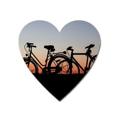 Bicycles Wheel Sunset Love Romance Heart Magnet