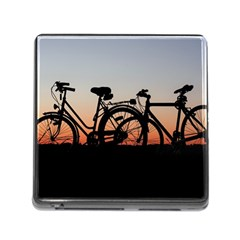 Bicycles Wheel Sunset Love Romance Memory Card Reader (square)