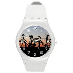 Bicycles Wheel Sunset Love Romance Round Plastic Sport Watch (m) by Amaryn4rt