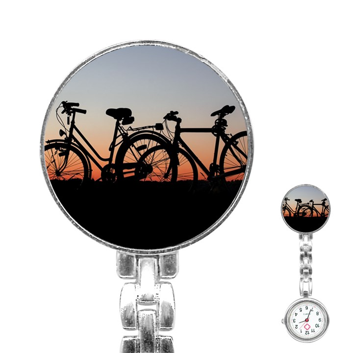 Bicycles Wheel Sunset Love Romance Stainless Steel Nurses Watch