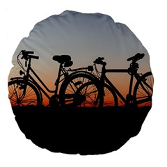 Bicycles Wheel Sunset Love Romance Large 18  Premium Flano Round Cushions by Amaryn4rt