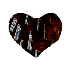 Abstract Architecture Building Business Standard 16  Premium Flano Heart Shape Cushions
