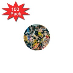 Art Graffiti Abstract Vintage Lines 1  Mini Buttons (100 Pack)  by Amaryn4rt