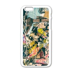 Art Graffiti Abstract Vintage Lines Apple Iphone 6/6s White Enamel Case by Amaryn4rt