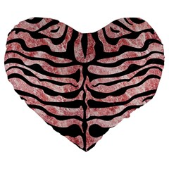 Skin2 Black Marble & Red & White Marble (r) Large 19  Premium Flano Heart Shape Cushion by trendistuff