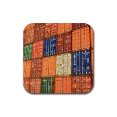 Blue White Orange And Brown Container Van Rubber Square Coaster (4 Pack)  by Amaryn4rt