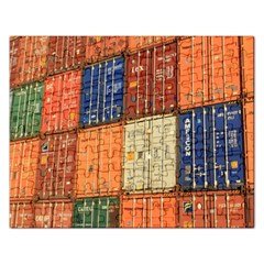 Blue White Orange And Brown Container Van Rectangular Jigsaw Puzzl by Amaryn4rt