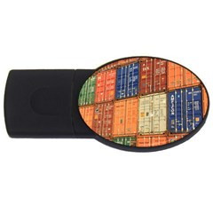Blue White Orange And Brown Container Van Usb Flash Drive Oval (4 Gb)  by Amaryn4rt